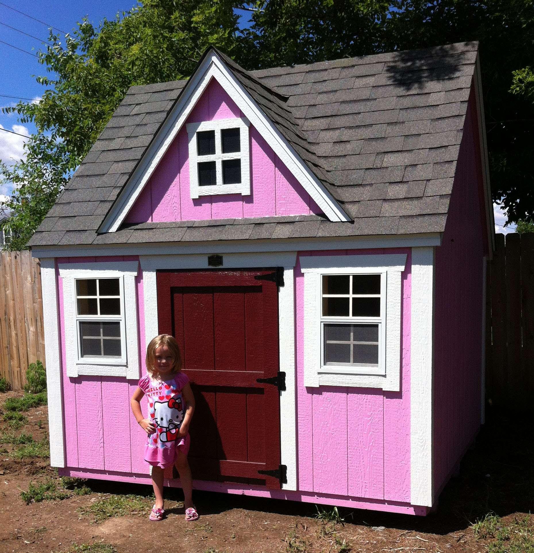 Happy Little Girl Is Enjoying Her New Playhouse Teton