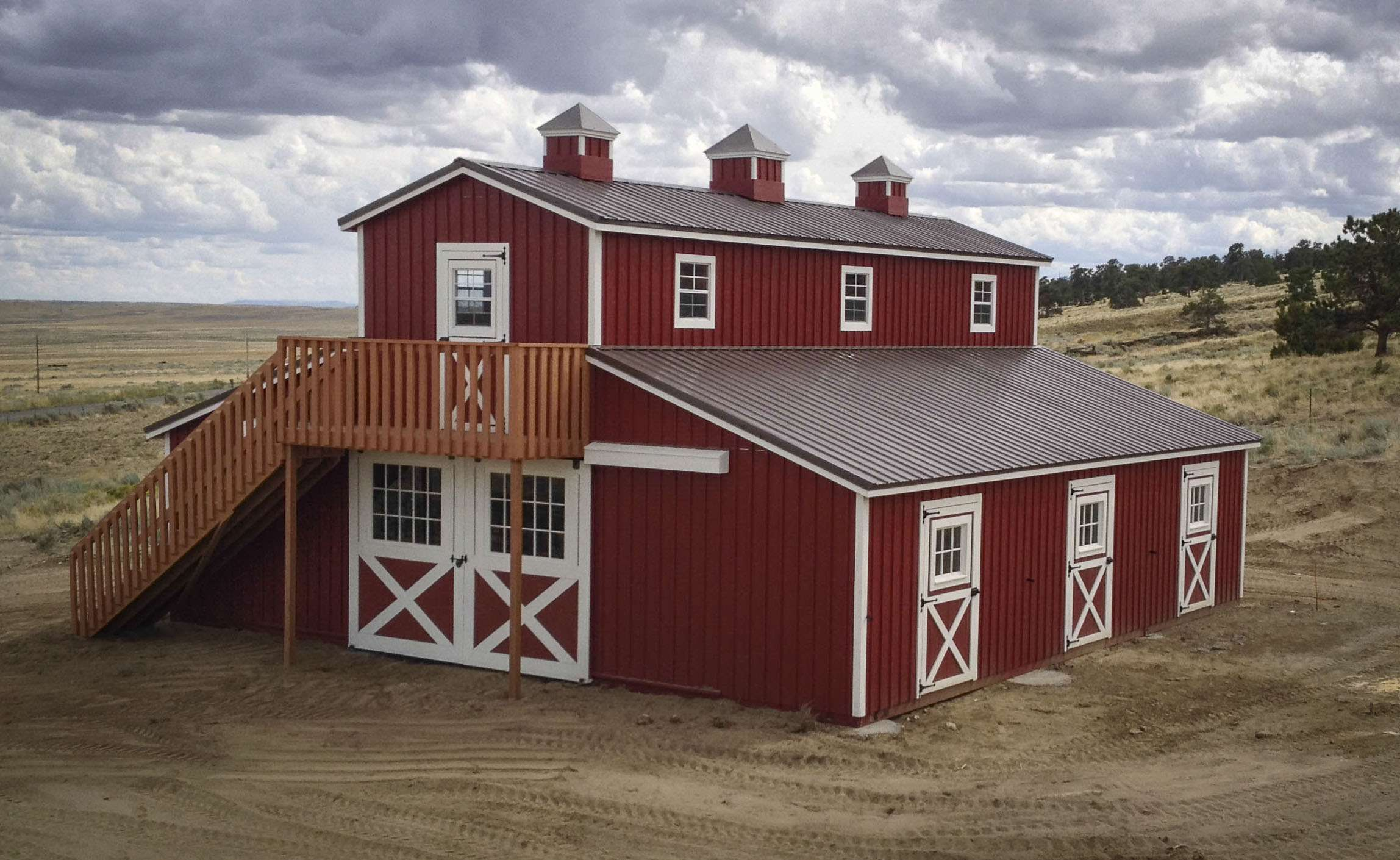 36 x 36 modular horse barn casper wy for Red barn prefab